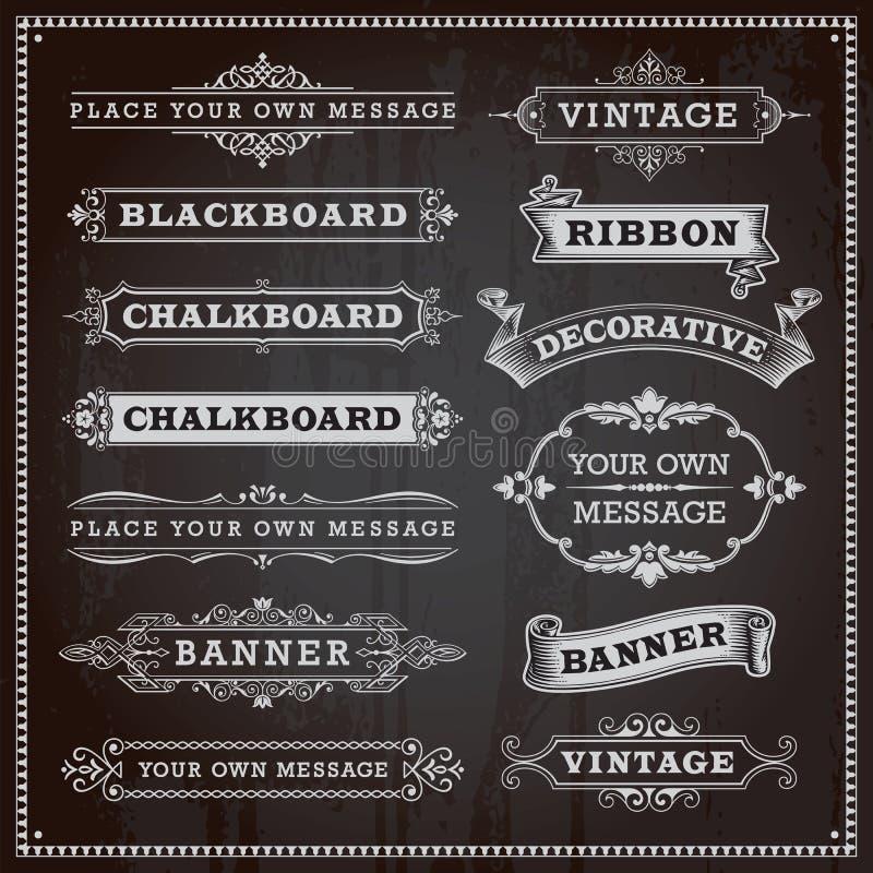 Baner, ramar och band, svart tavlastil stock illustrationer