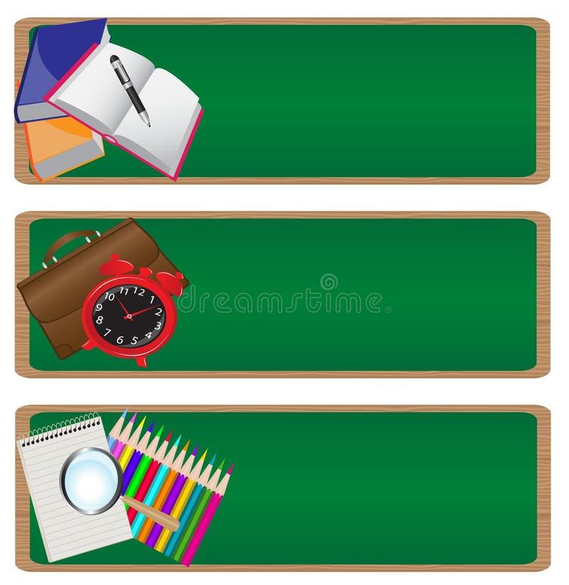 Baner som baksidt ställs in till skolan vektor illustrationer