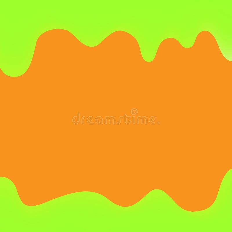 Baner som dryper den målarfärggräsplan och apelsinen för färgrik bakgrund, vattenfärgdroppandegräns, grön ram av att drypa krämig stock illustrationer