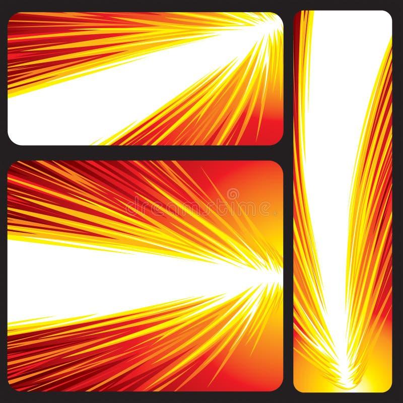 baner som glöder rött stock illustrationer