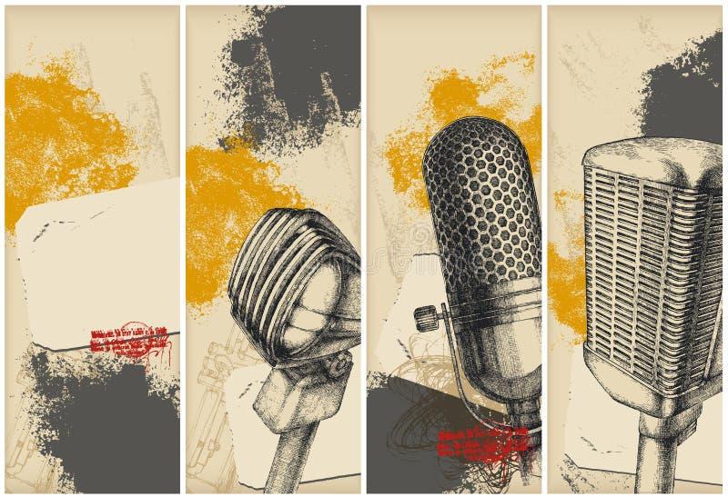 baner som tecknar mikrofonen vektor illustrationer