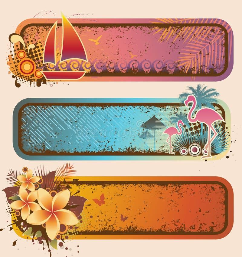 baner ställde in tropiskt stock illustrationer