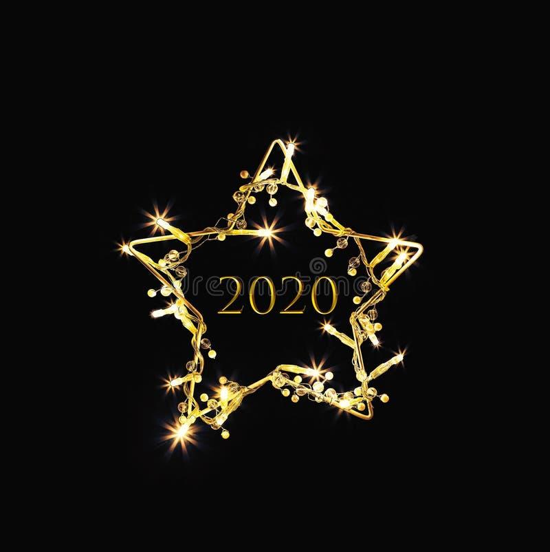 2020 baner, symbol, nytt år, guld- stjärna som är guld-, nummer, arkivbilder