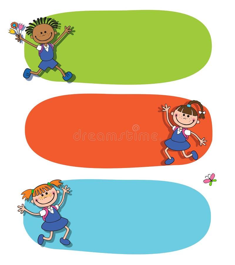 Baner tillbaka till vektorn för logo för bokstäver för elev för flicka för skolapojke vektor illustrationer