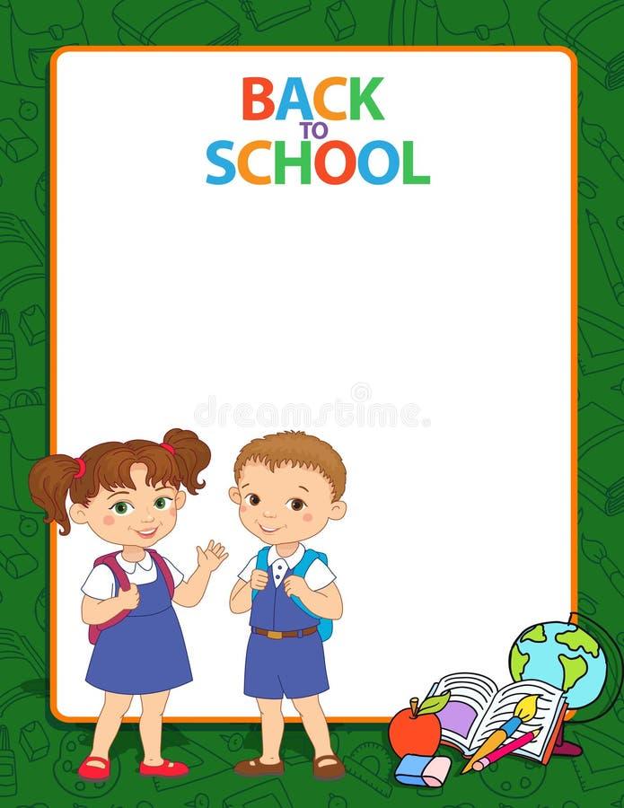 Baner tillbaka till vektorn för logo för bokstäver för elev för flicka för skolapojke stock illustrationer