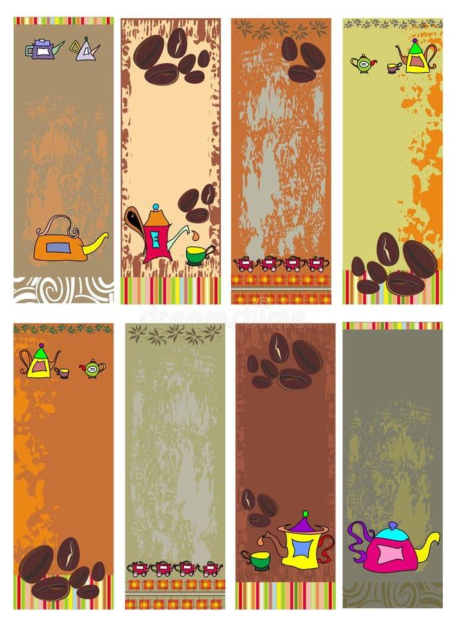 banercafen planlägger mallen stock illustrationer