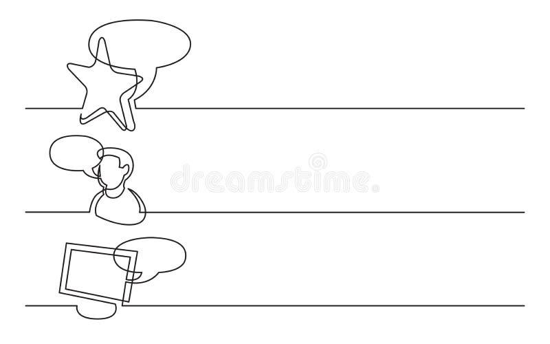 Banerdesign - fortlöpande linje teckning av affärssymboler: favorit- åsikt, användarerekommendation, internetpratstund vektor illustrationer