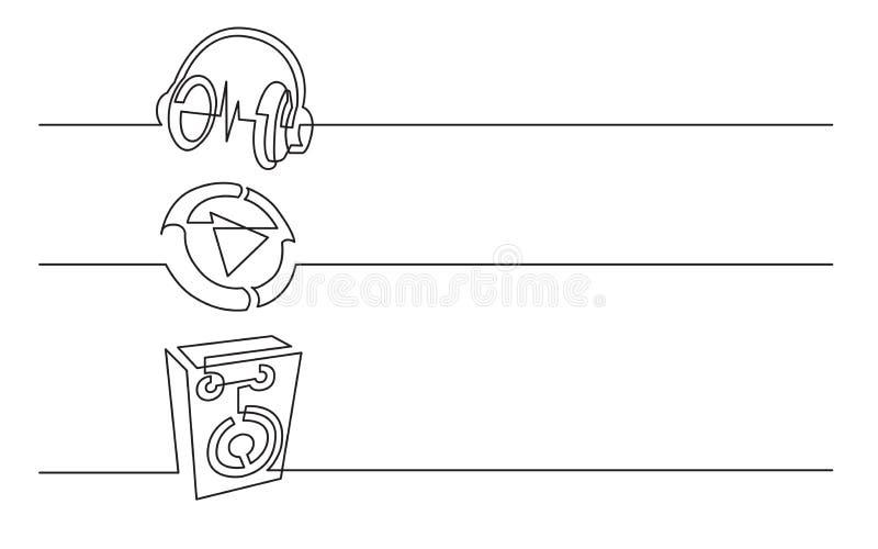 Banerdesign - fortlöpande linje teckning av affärssymboler: hörlurar videomapp, ljudsignal högtalare vektor illustrationer