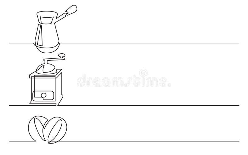 Banerdesign - fortlöpande linje teckning av affärssymboler: jezve kaffekvarn, bönor vektor illustrationer