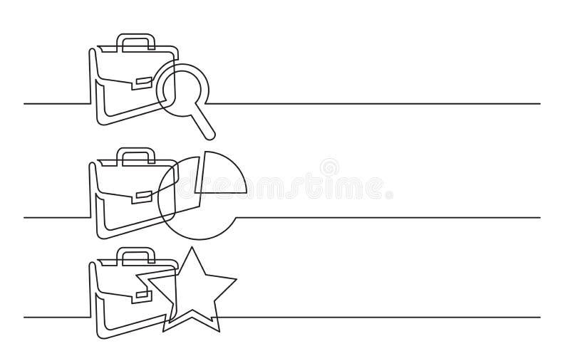 Banerdesign - fortlöpande linje teckning av affärssymboler: portfölj med sökandet, investeringpajdiagram, stjärnaaktieägare vektor illustrationer
