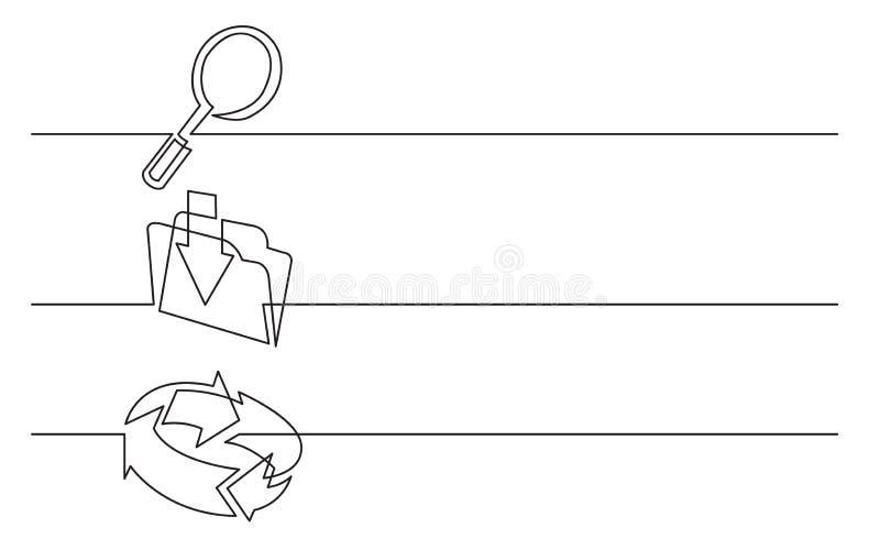 Banerdesign - fortlöpande linje teckning av affärssymboler: seende exponeringsglas, laddar upp mappen, anslutningspilar royaltyfri illustrationer