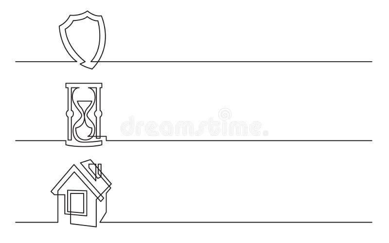 Banerdesign - fortlöpande linje teckning av affärssymboler: skyddssköld, timglas, hem- symbol vektor illustrationer
