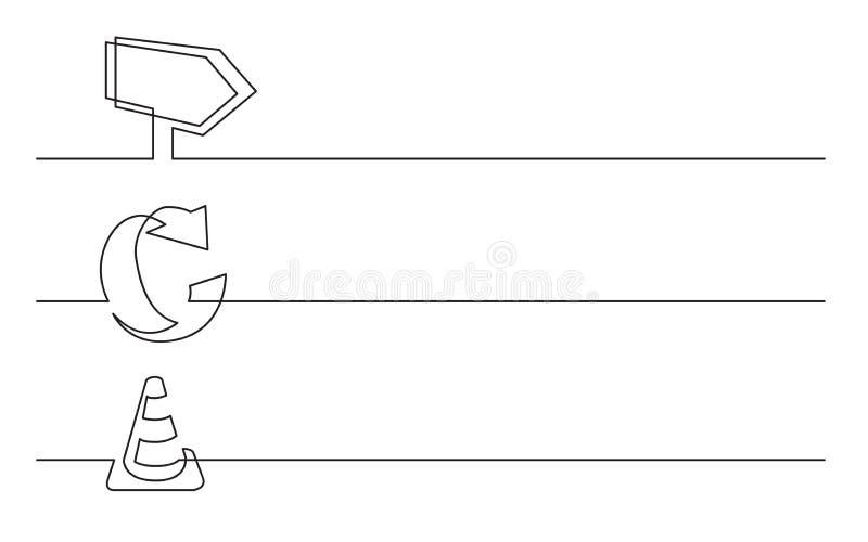 Banerdesign - fortlöpande linje teckning av affärssymboler: telefon ringklocka, kalender vektor illustrationer