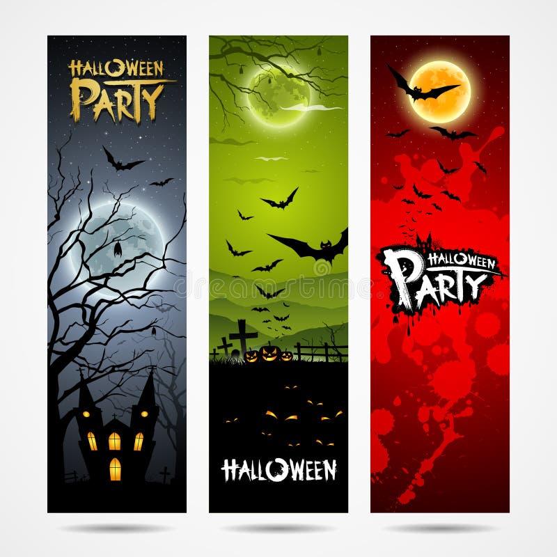 Banerdesign Halloween royaltyfri illustrationer