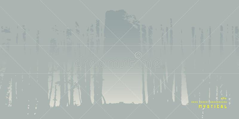 Banerdesign med bilden av björkskogen royaltyfri illustrationer