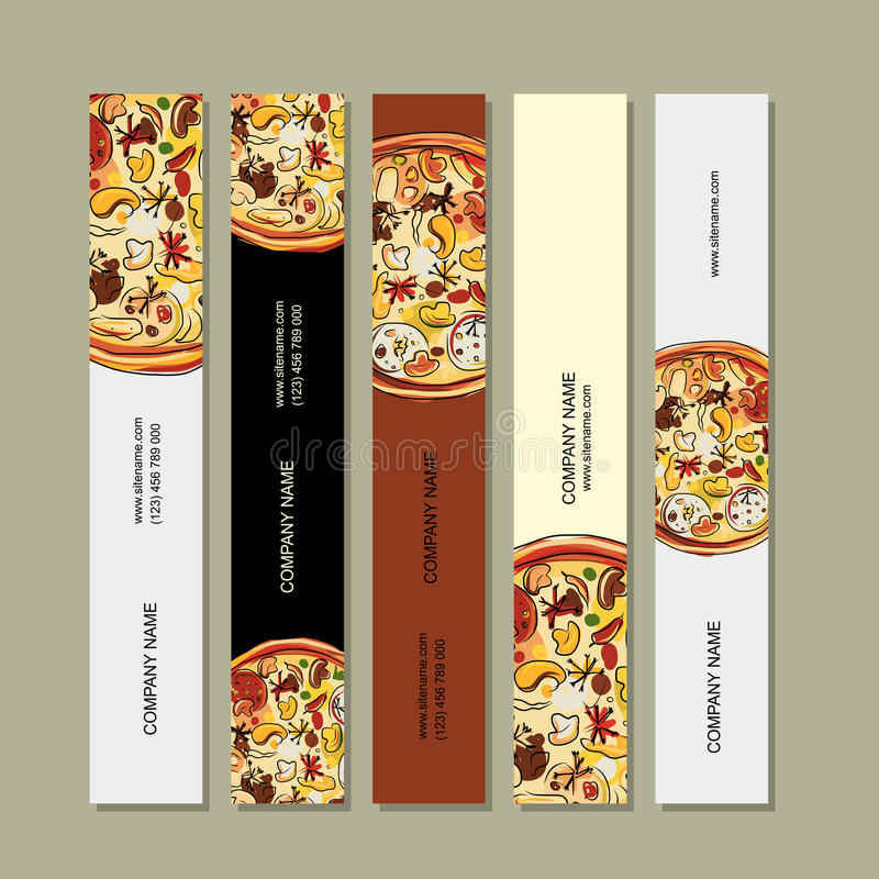 Banerdesignen med pizza skissar vektor illustrationer