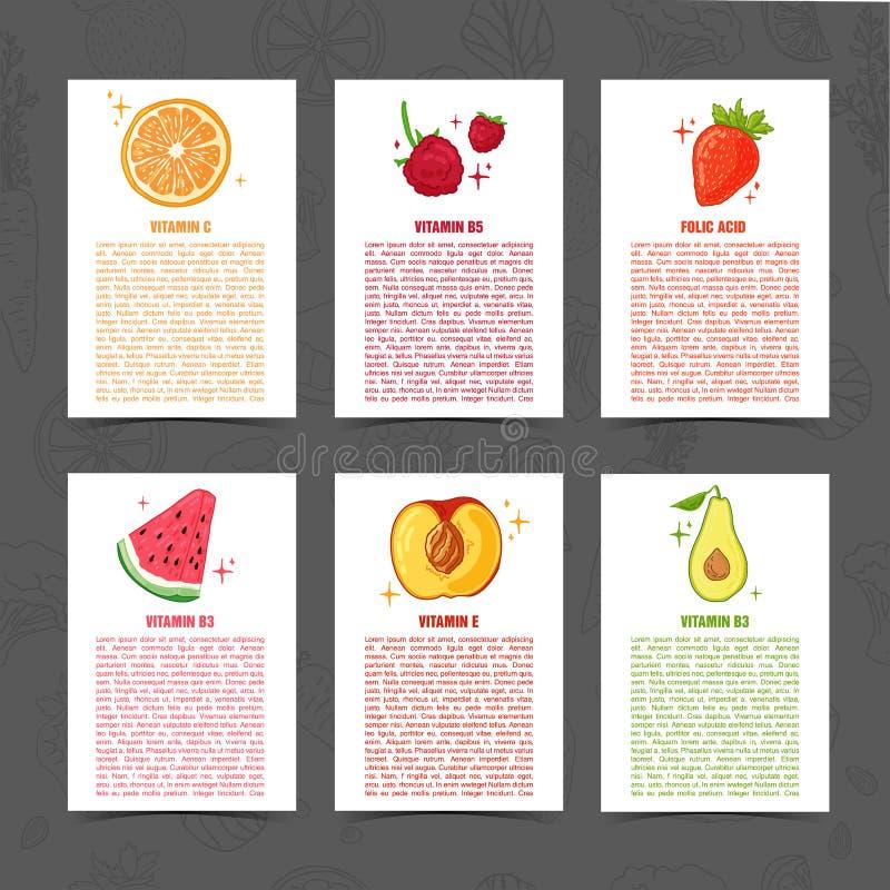 Banerdesignmall med matgarnering Ställ in kortet med dekoren av sund saftig frukt Menymall med utrymme stock illustrationer
