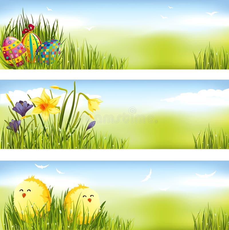 banereaster set vektor illustrationer