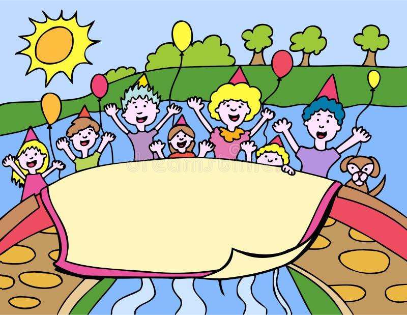 banerfödelsedagdeltagare royaltyfri illustrationer