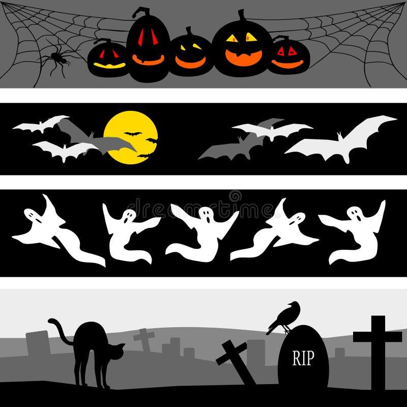 banergrupp halloween vektor illustrationer