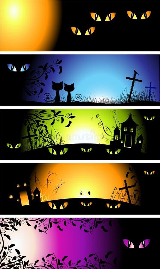 banerhalloween natt vektor illustrationer