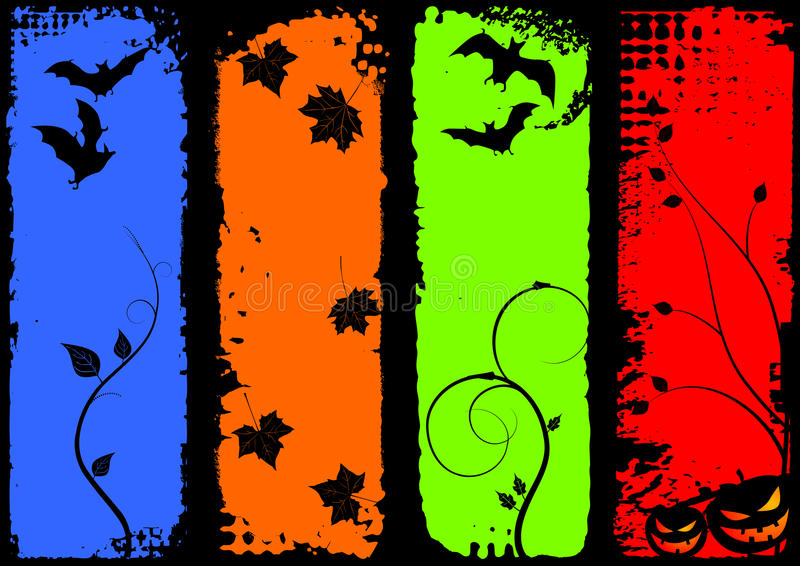 banerhalloween set vertical vektor illustrationer