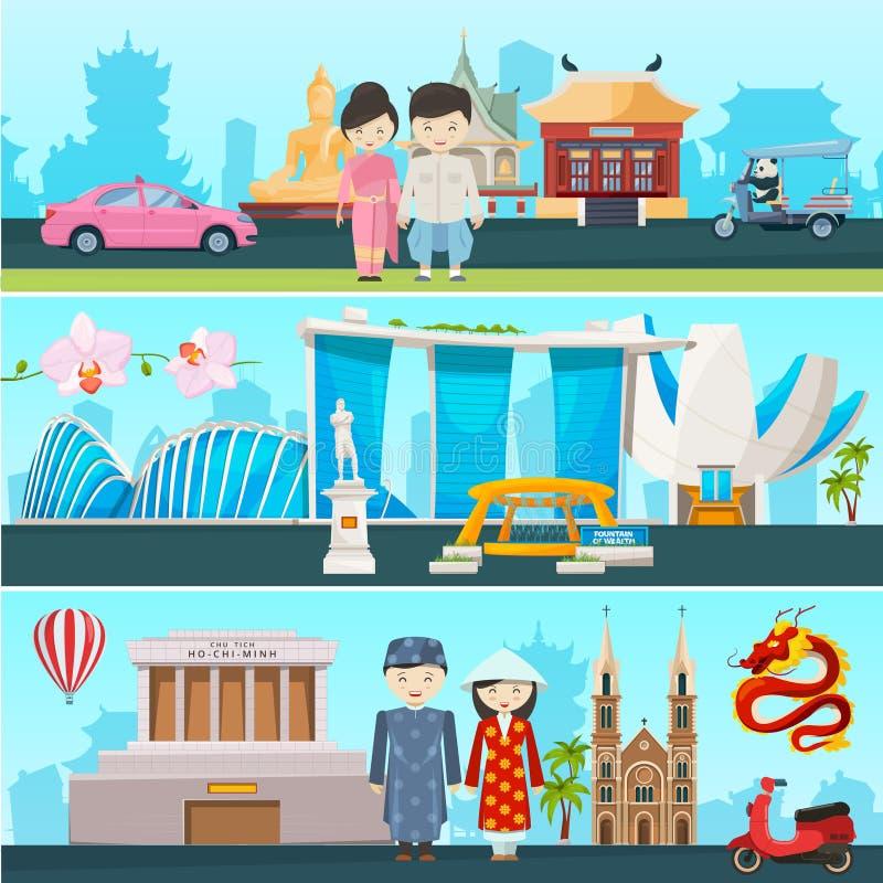 Banerillustrationer av östliga länder Vietnam, Thailand och singapore royaltyfri illustrationer