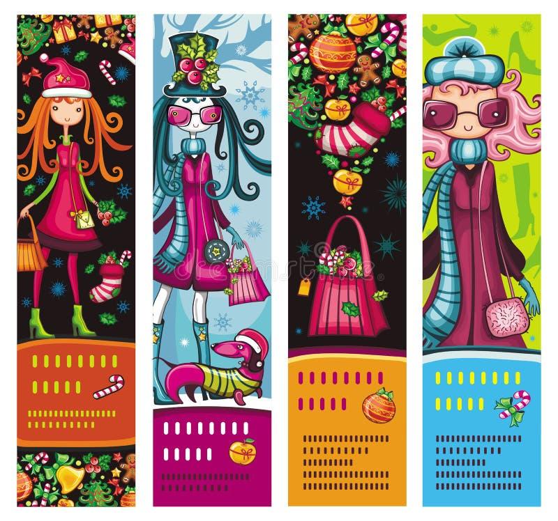 banerjulen fashion flickor royaltyfri illustrationer