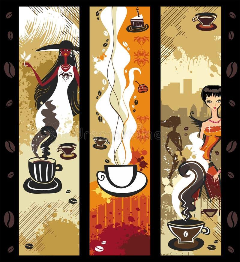 banerkaffeflickor royaltyfri illustrationer