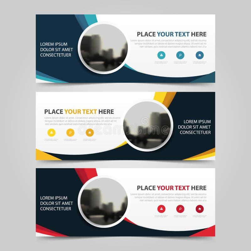 Banermall för företags affär, horisontaluppsättning för design för lägenhet för mall för orientering för baner för advertizingaff royaltyfri illustrationer