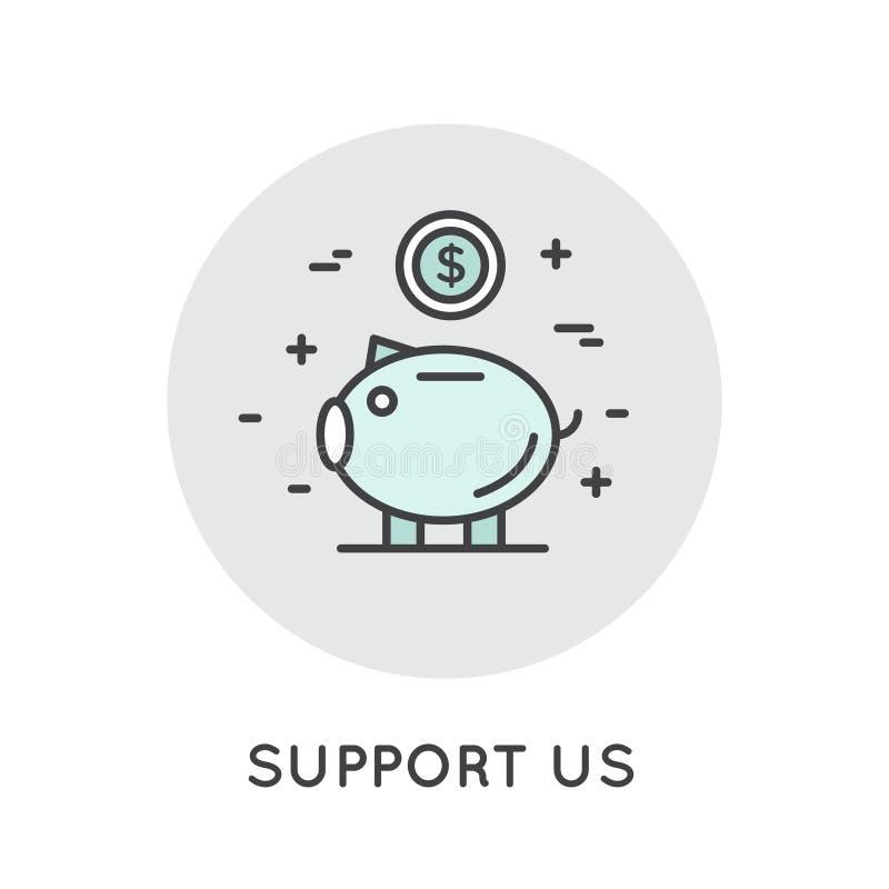 Banermall för webbplats med donationknappen och serviceslogan stock illustrationer