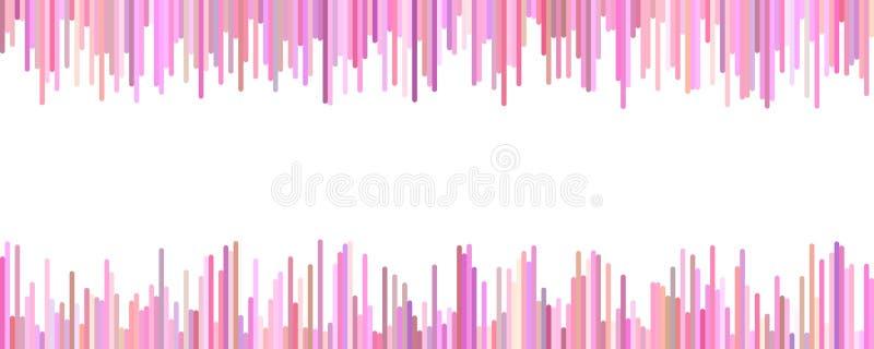 Banermall - horisontalvektordiagrammet från vertikala band i rosa färger tonar på vit bakgrund vektor illustrationer