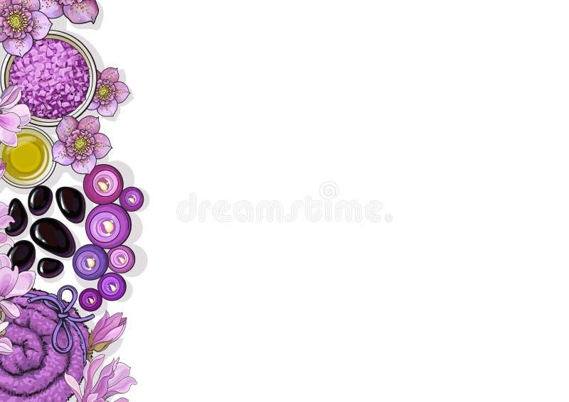 Banermall med brunnsorttillbehör och blommor på vit bakgrund vektor illustrationer