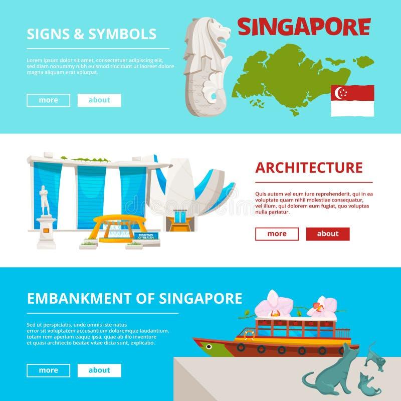 Banermall med kulturella objekt och gränsmärken av singapore royaltyfri illustrationer