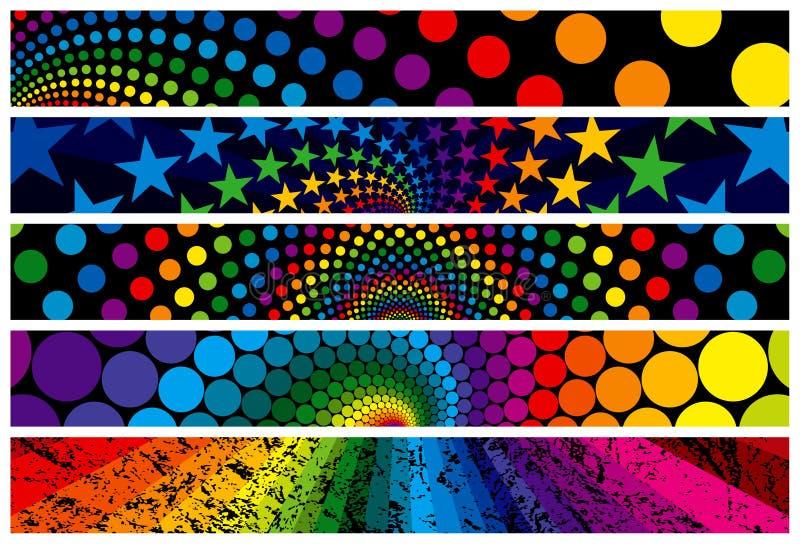 banerregnbågerengöringsduk vektor illustrationer