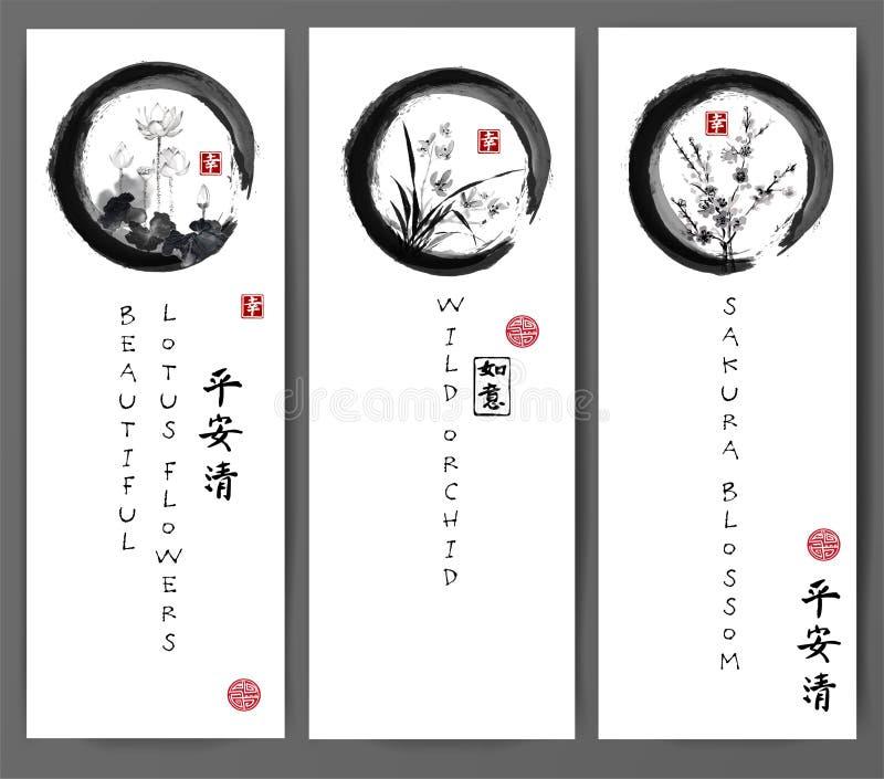 Baners com flores de lótus, a orquídea selvagem e sakura florescem no círculo preto do zen do enso Contém hieróglifos - paz ilustração royalty free