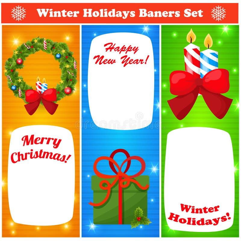 Baners de la Navidad del saludo y del Año Nuevo fijados libre illustration