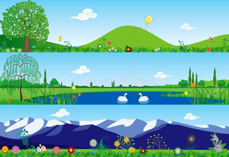 banersommar tre stock illustrationer