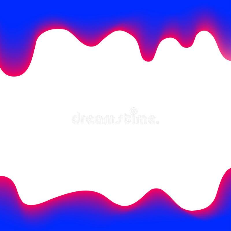Banerstekflottmålarfärg som är blå och som är vit för färgrik bakgrund, vattenfärgdroppandegräns, blå ram av att drypa krämig fly royaltyfri illustrationer