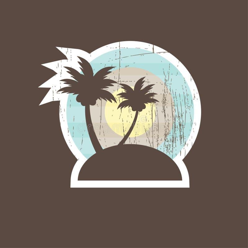 banerstranden gömma i handflatan tropiska två stock illustrationer