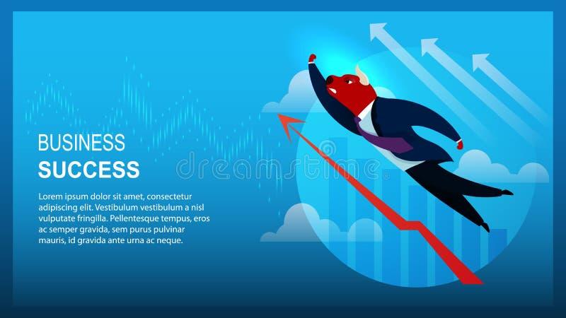 Banerteckenaffärsman Bull Business Success royaltyfri illustrationer