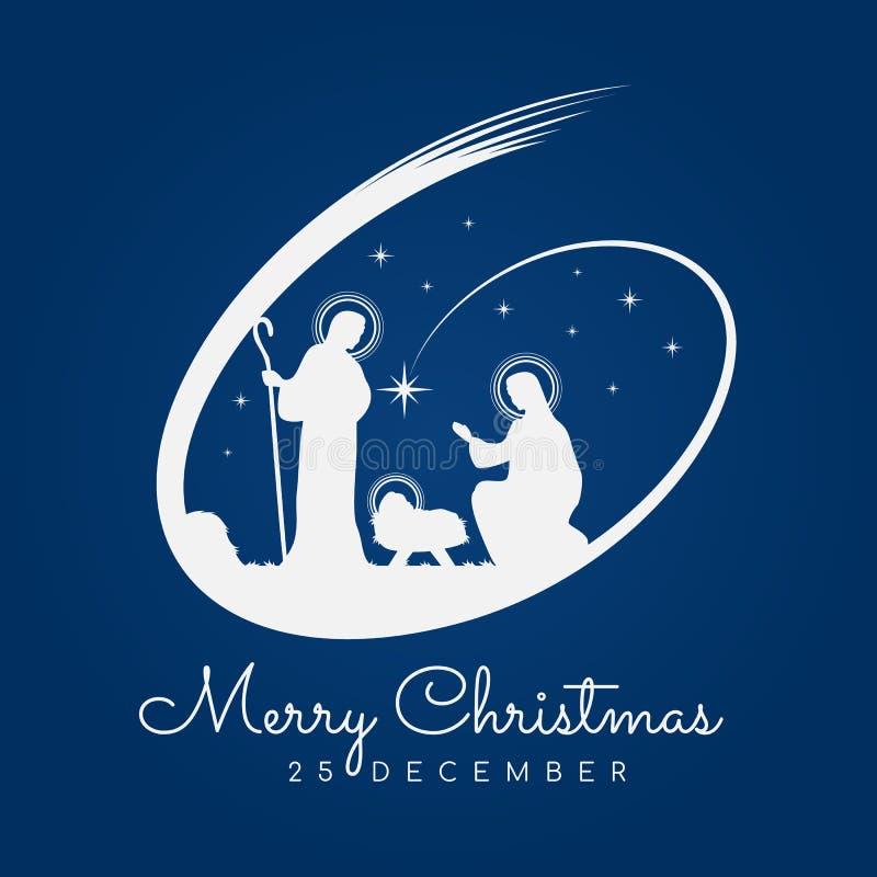 Banertecknet för glad jul med Nightly jullandskap mary och joseph i en krubba med behandla som ett barn Jesus och meteor på blå b royaltyfri illustrationer