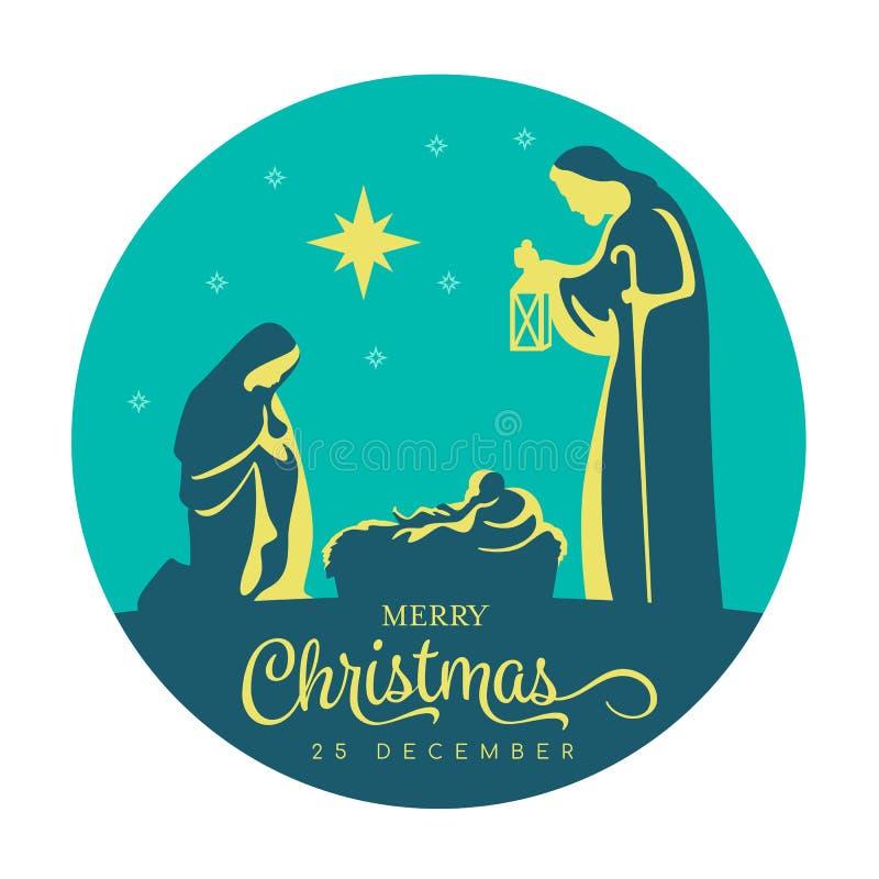 Banertecknet för glad jul med Nightly jullandskap mary och joseph i en krubba med behandla som ett barn Jesus och stjärnaljus i m stock illustrationer