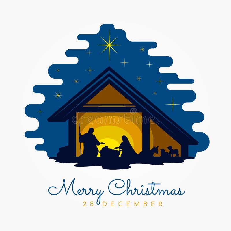 Banertecknet för glad jul med Nightly jullandskap mary och joseph i en krubba med behandla som ett barn Jesus vektordesign vektor illustrationer
