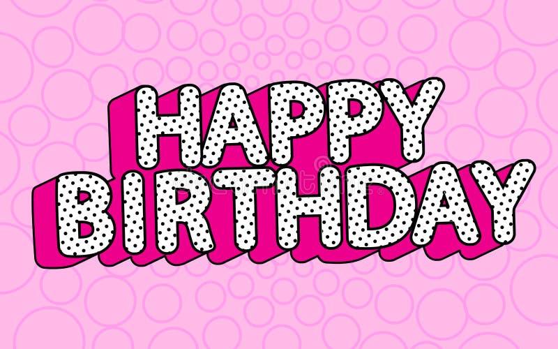 Banertext för lycklig födelsedag med varm rosa överraskning för docka för parti LOL för skugga themed royaltyfri illustrationer