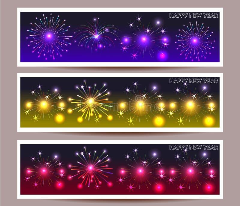 Baneruppsättning av illustrationen för lyckligt nytt år vektor illustrationer