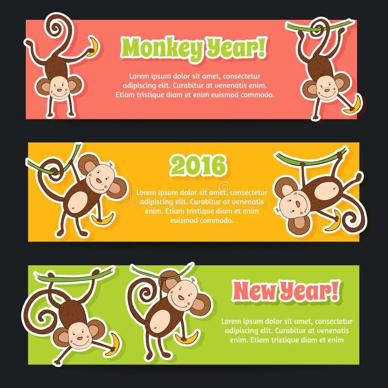 Baneruppsättning för det nya året 2016, år av apan royaltyfri illustrationer