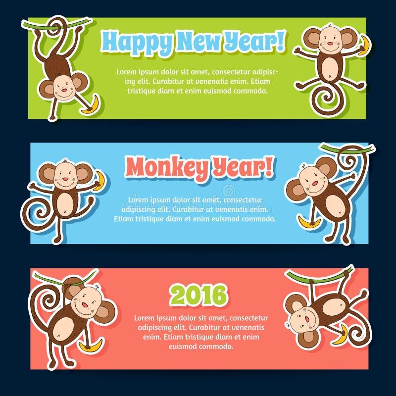 Baneruppsättning för det nya året 2016 med gulliga apor stock illustrationer