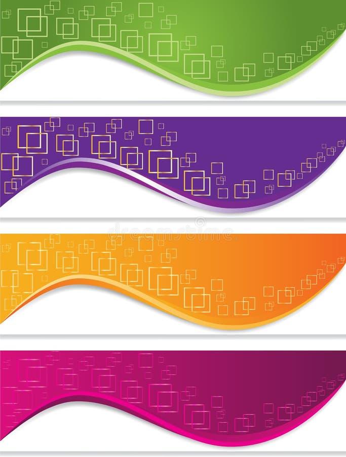 Baneruppsättning med geometriska former royaltyfri illustrationer