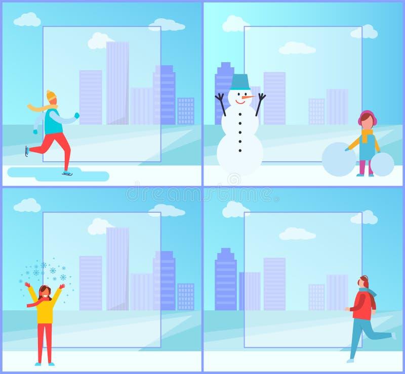 Baneruppsättning på vintertema på vektorillustration vektor illustrationer